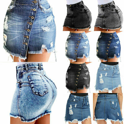 95bdb6a9a1e6 DAMEN JEANS ROCK Destroyed Kurze Bleistiftröcke Stretch Sommer ...