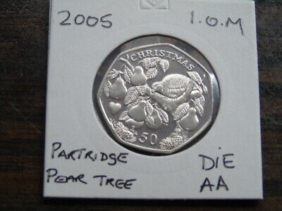 2005 Iom 50P Coin Isle Of Man Christmas Coin Partridge Pear Tree Aa Fifty Pence