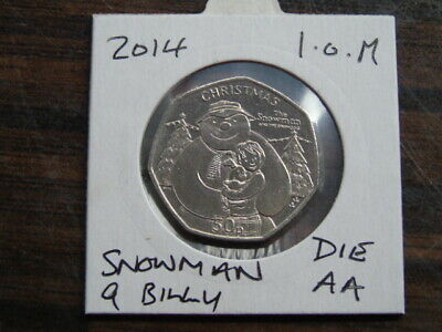 2014 Iom 50P Coin Isle Of Man Christmas Coin Snowman And Billy Aa Fifty Pence
