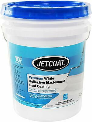 Jetcoat Cool King Elastomeric Acrylic Reflective Roof Coating, White, 5 Gallon