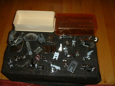 JUNK DRAWER SEWING MACHINE ATTACHMENTS 28 PIECES with STORAGE BOX VARIOUS MAKER