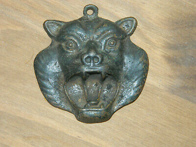 antique? vintage? cast iron metal wild cat head face gargoyle curio collectible?