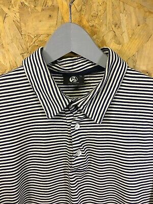 PS x PAUL SMITH, Mens Size XL, Cream/Navy Stripe, Slim Fit Polo Shirt,*EX COND*