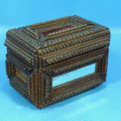 Antique German Black Forest Carved Tramp Art TRINKET JEWELRY BOX Velvet Lined