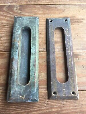 Antique Front Door Vintage Brass Hinged Mail Letter Slot Inner & Outer Plate 8""