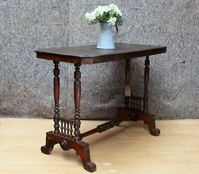 Small Ornate Side Table With Turned Stretcher Supports And Galleried Decoration