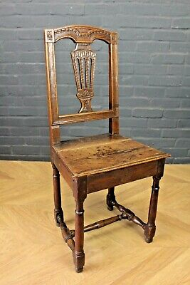 Antique Victorian Carved Oak Hall Chair ~ Joined Oak Chair