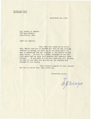 William J. Mayo - Typed Letter Signed 09/16/1931