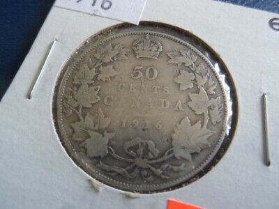 1916 Canada Sterling Silver 50 Cent Piece-George V-11.66 Grams-0.925------19-353