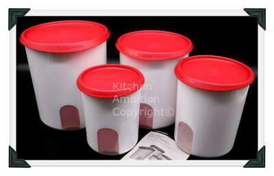 Brand New TUPPERWARE Modular One Touch Reminder Canister Set/4 Canisters Red