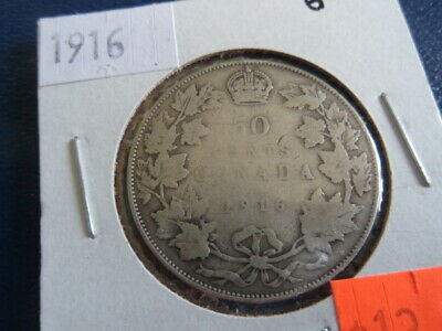 1916 Canada Sterling Silver 50 Cent Piece-George V-11.66 Grams-0.925------19-355