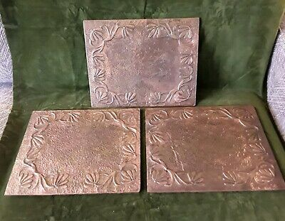 Vintage antique Arts & Crafts repousse work copper mats honeysuckle KSIA Newlyn