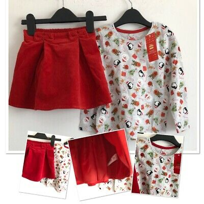 Next Nutmeg Girls Chrsitmas Winter Cordrouy Skirt Jumper Outfit 3-4 Years