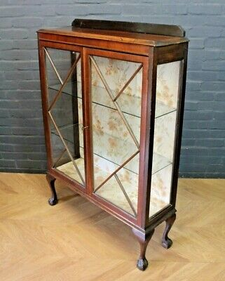 Vintage Art Deco Mahogany Glazed Two Door Display Cabinet China Cabinet