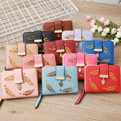 Women's Small Wallet Hollow Leaves Flower Clutch Bag Short Ladies Card Package H