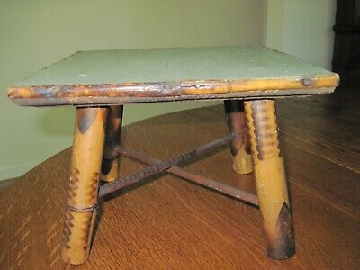 Vintage Bamboo Wood Arts and Crafts Stool