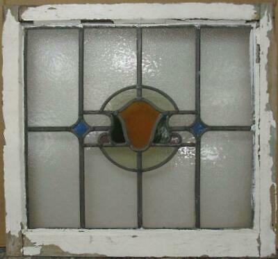 "MIDSIZE OLD ENGLISH LEADED STAINED GLASS WINDOW Gorgeous Abstract 23.25"" x 21.5"""