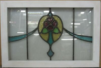 "OLD ENGLISH LEADED STAINED GLASS WINDOW TRANSOM Nice Floral Swag 26.25"" x 17.75"""