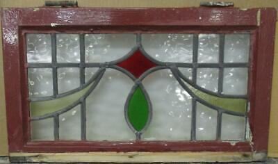 "OLD ENGLISH LEADED STAINED GLASS WINDOW Gorgeous Geometric Sweep 22"" x 12.75"""