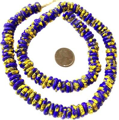 Ghana African Matched Cobalt Blue Chevron Disk Recycled glass trade beads-Ghana