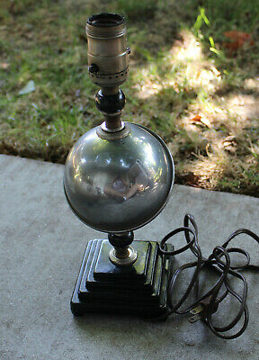 Antique Art Deco Chrome Globe Sphere Table Desk Lamp Tiered Base Vintage WORKS