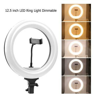 12.5in LED Ring Light Dimmable 36W Lamp w/ Tripod Remote Control for Studio Live