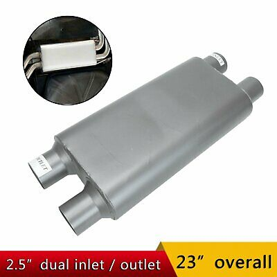 """1pc Stainless Steel High Flow Oval Body Muffler Exhaust 2.5/""""ID Inlet//Outlet"""