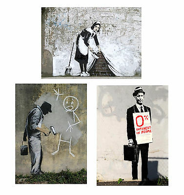 Banksy set of three Canvas ACEO giclee Prints Street Art Graffiti
