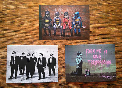 Banksy set of three Graffiti Canvas ACEO giclee Prints Street Art