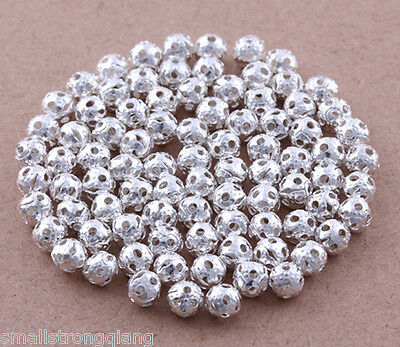 500 pcs Silver Plated hollow loose spacer Beads Charms Findings 4mm