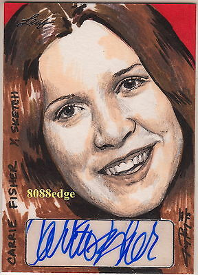 2013 Pop Century Jay Pangan Sketch Auto:carrie Fisher #1/1 Of One Autograph Leia