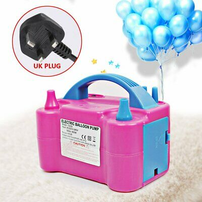 Electric Balloon Inflator Pump Two Nozzle High Power Air Blower Portable UK Plug
