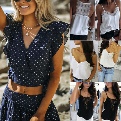 Sexy Fashion Women Backless V-Neck Sleeveless Lace Cami Button Top Backless Vest