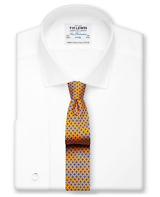 T.M.Lewin White Poplin Fitted Double Cuff Shirt