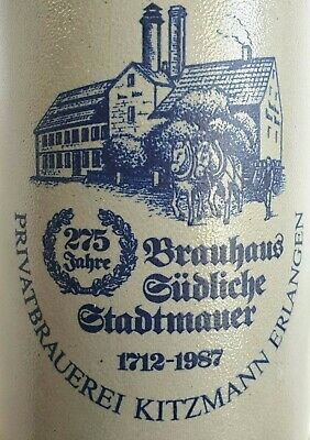 Collectable Ceramic Beer Stein With Handle Erlangen Germany  H19cm Stoneware