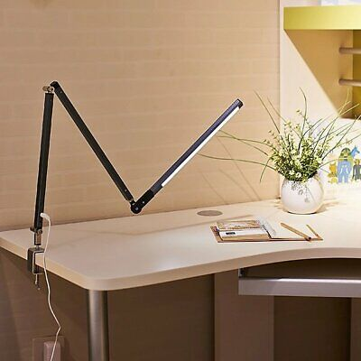 LED Dimmable Flexible Reading Light Desk Lamp Foldable Clip-on Flex Arm Eye Care
