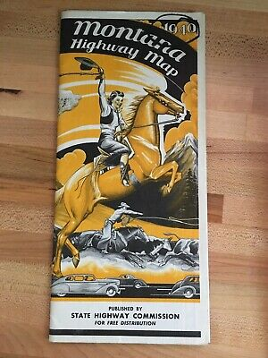 Vintage 1940 Montana Highway Map State Highway Commission Roads to Romance