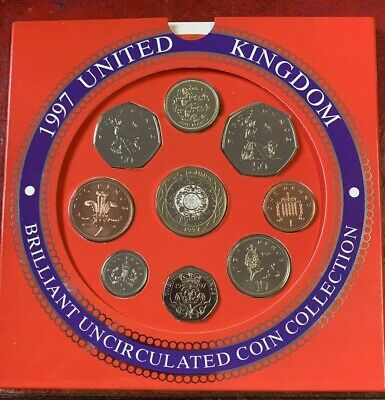 1997 UK Brilliant Uncirculated Coin Set Large And Small 50p