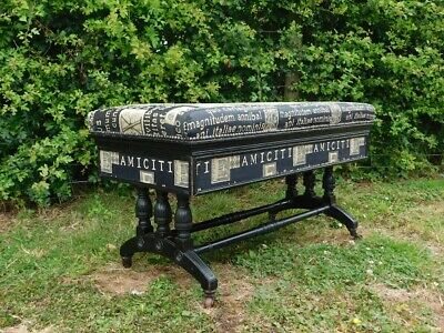 A Good Sized Antique Arts & Crafts Ebonised Piano Or Foot Stool Window Seat