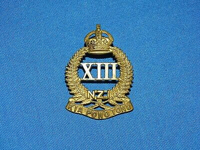 WWI-WWII New Zealand Cap Hat Badge, XIII 13th NZ INFANTRY (213)