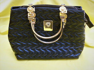 borsa Gianni Versace, black leather bag, made in Italy, completed with trademark