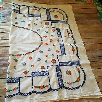 Tablecloth Vtg Cross Stitch Needlework Floral Blue Orange Beautiful Detail Hand