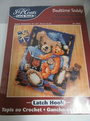 JP Coats Latch Hook Kit Bedtime Teddy Bear 18x24