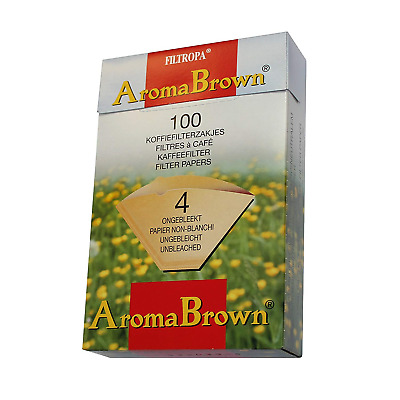 2 BOXES of Filtropa Unbleached Brown Coffee Filter Papers - Size 4, Pack of 100