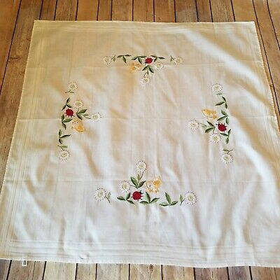 Dresser Scarf Vtg Table Topper Hand Embroidered Runner Floral Chicks Ladybugs