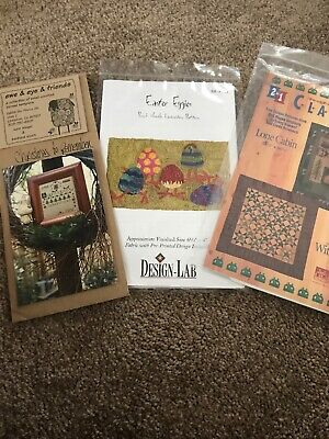 Lot Of Three Patterns Counted Cross Stitch- Punch Needle- Quilt Christmas Easter