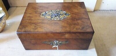 VICTORIAN WRITING SLOPE with key. Mother of pearl, brass and rosewood