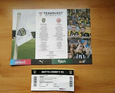 2019 20/7/2019 Pre Season Friendly Teamsheet / Ticket .. Notts County v Walsall