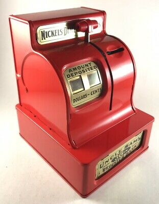 2002 Rocket USA Red Uncle Sam's 3 Coin Register Bank Metal Reproduction