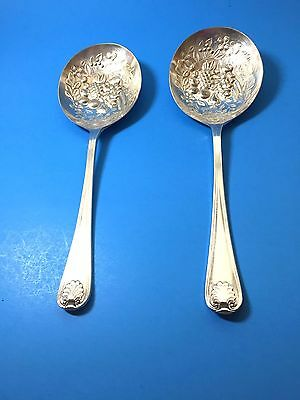 2 Silver Plate Fruit Serving Spoons Gold Wash EPNS Sheffield England